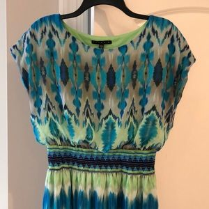Tiana B multi colored dress with cinched waist